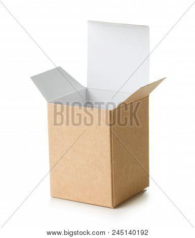 Empty Brown Cardboard Box On White Background