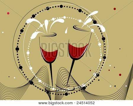 abstract wave, dots background with set of champagne glass