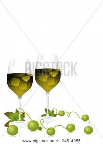 champagne glass with grapes vines on white background
