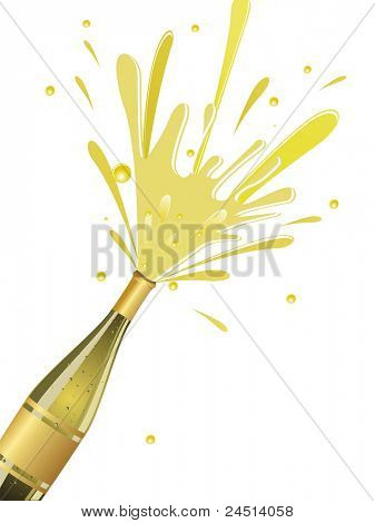champange explosion on white background