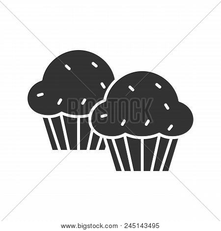 Cupcakes Glyph Icon. Muffins. Silhouette Symbol. Negative Space. Vector Isolated Illustration