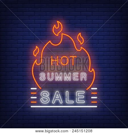 Hot Summer Sale Sign In Neon Style. Vector Illustration With Glowing Text And Red Flame Shape. Templ