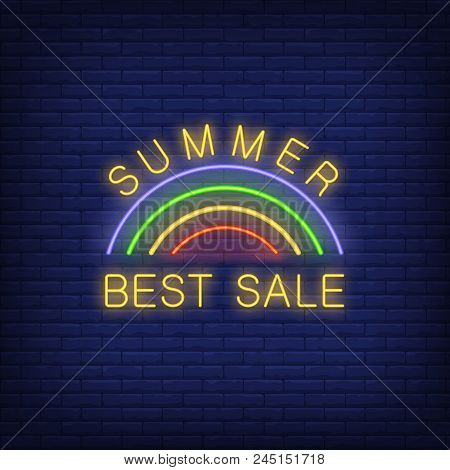 Summer Best Sale Neon Sign. Vector Illustration With Glowing Yellow Text And Rainbow On Dark Brick W