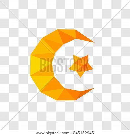 Star And Moon, Islam, Moslem, Islamic Symbol, Isolated On Transparent Background, Vector Illustratio