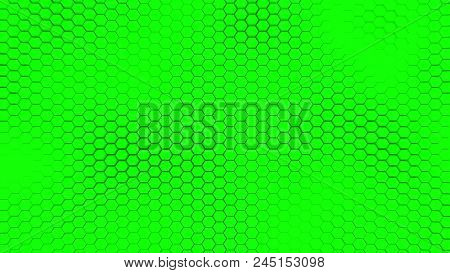 Beautiful Green Hexagrid Background With Soft Sea Waves