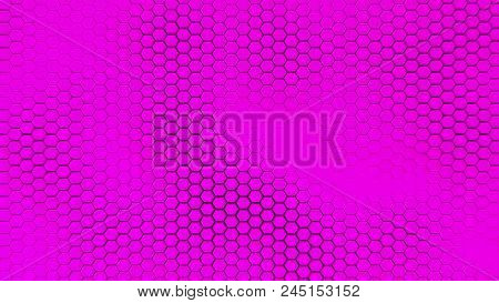 Beautiful Purple Hexagrid Background With Waves. Honeycombs