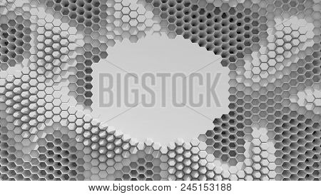 Abstract Black And White Crystallized Background. Honeycombs Move Like An Ocean. With Place For Text