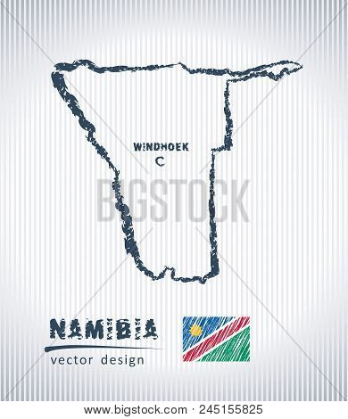 Namibia National Vector Drawing Map On White Background