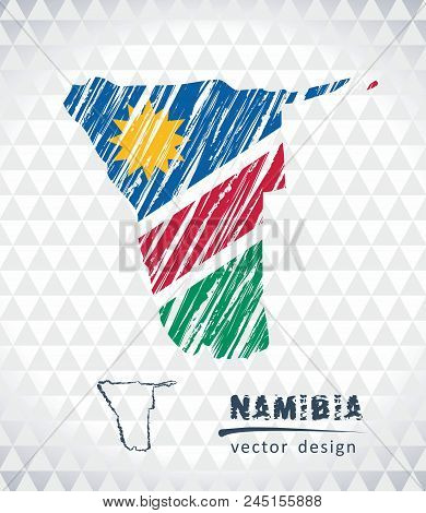 Map Of Namibia With Hand Drawn Sketch Pen Map Inside. Vector Illustration