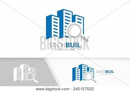 Vector Skyscraper And Loupe Logo Combination. House And Magnifying Symbol Or Icon. Unique Real Estat