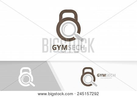 Vector Sport And Loupe Logo Combination. Gym And Magnifying Symbol Or Icon. Unique Fitness And Searc