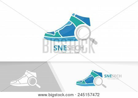 Vector Sneaker And Loupe Logo Combination. Shoe And Magnifying Symbol Or Icon. Unique Footwear And S