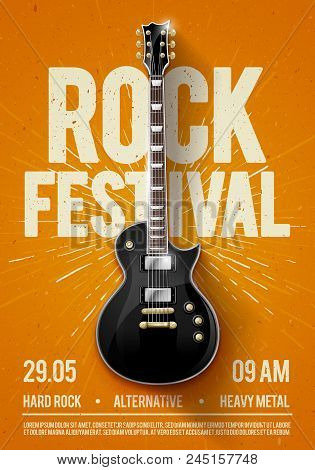 Vector Illustration Orange Rock Festival Concert Party Flyer Or Posterdesign Template With Guitar, P
