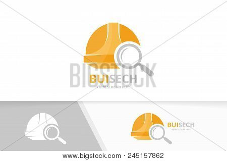 Vector Helmet And Loupe Logo Combination. Hat And Magnifying Symbol Or Icon. Unique Safety And Searc