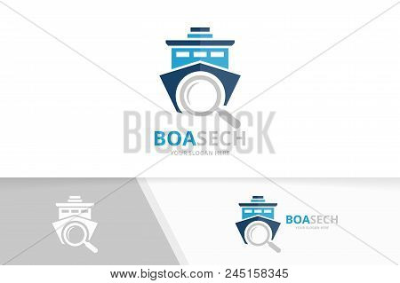 Vector Ship And Loupe Logo Combination. Boat And Magnifying Symbol Or Icon. Unique Yacht And Search