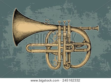Vintage Cornet Hand Drawing Engraving Illustration,the Classical Music Instrument