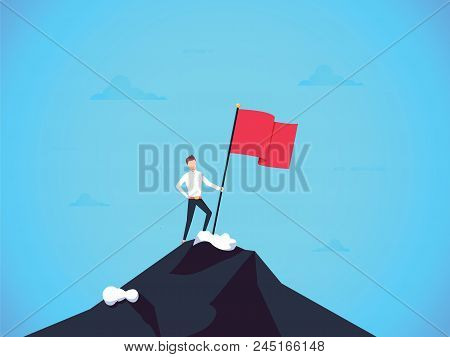 Business Leader Vector Concept With Businessman Planting Flag On Top Of Mountain. Symbol Of Success,