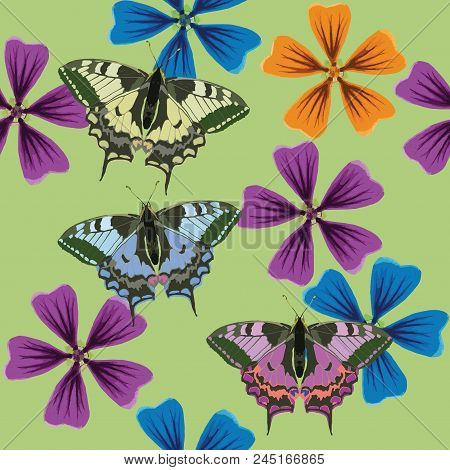 Lavatera, Butterfly. Texture Of Flowers, Butterfly. Seamless Pattern For Continuous Replicate. Flora