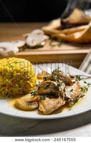 Healthy Baked Italian Chicken Marsala With Herbed Yellow Rice And Mushrooms