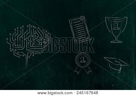 Genius Mind Conceptual Illustration: Digital Brain Next To Group Of Education Accomplishment Icons F