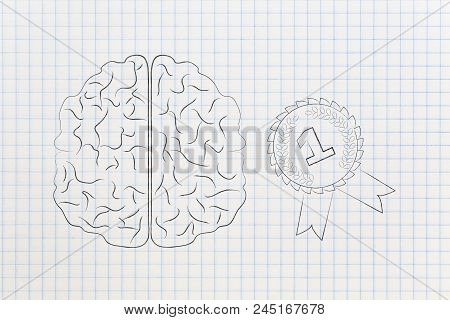 Genius Mind Conceptual Illustration: Brain Next To 1st Place Competition Winner Ribbon
