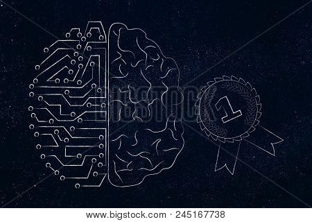 Genius Mind Conceptual Illustration: Half Digital Half Human Brain Next To 1st Place Competition Win