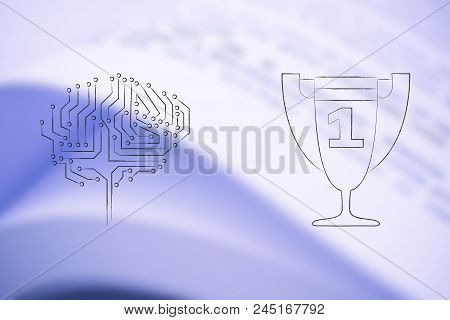 Genius Mind Conceptual Illustration: Digital Brain Next To 1st Place Competition Winner Trophy