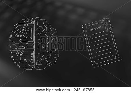Genius Mind Conceptual Illustration: Half Digital Half Human Brain Next To Degree Diploma With Ribbo