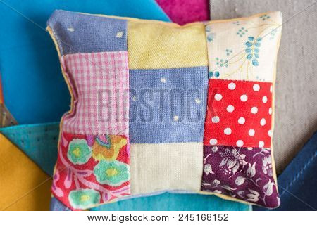 Patchwork, Quilting, Sewing, Tailoring And Fashion Concept - Close-up Beautiful Colorful Stitched Cu