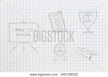 Genius Mind Conceptual Illustration: Back To School Blackboard Next To Group Of Education Accomplish