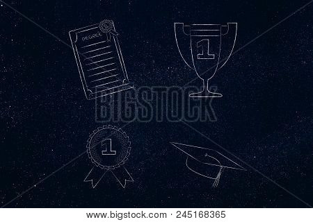 Genius Mind Conceptual Illustration: Group Of Education Accomplishment Icons From Degree To Trophy A