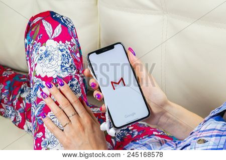 Sankt-petersburg, Russia, June 8, 2018: Google Gmail Application Icon On Apple Iphone X Smartphone S