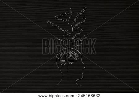 Genius Mind Conceptual Illustration: Profile Head With Brain Icon And With Success And Opportunities