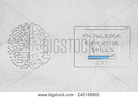 Genius Mind Conceptual Illustration: Half Human Half Digital Brain Next To Knowledge Expertise Skill