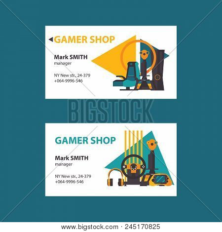 Business Cards On White Background For Video Gamer Shop. Set With Two Design With Joystick, Gamepad,