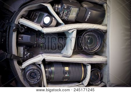 West St Paul, Mn/usa - April 14, 2018: Camera Bag Packed With Gear Including Pentax-brand Camera Bod