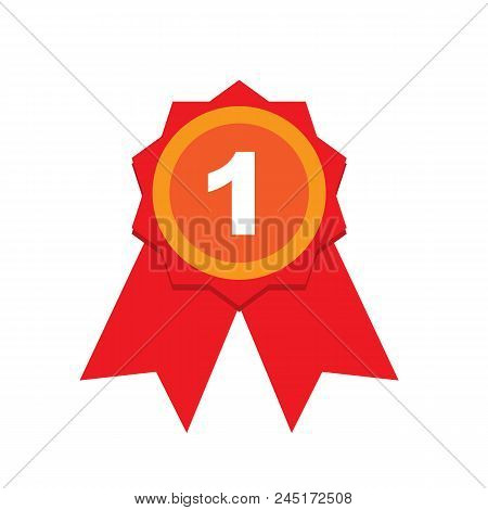 First Place Award Sign. Winner Medal Isolated On White Background. Vector Stock.