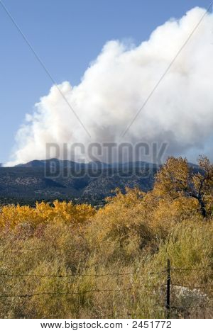 Large Forest Fire In The Mountains
