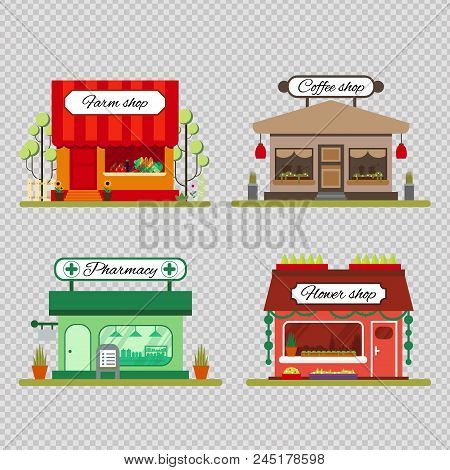 Set Of Different Shops In Flat Style - Farm Product, Coffee And Flower Store - Vector Illustration S