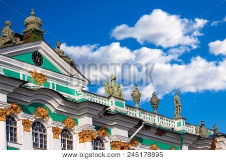 The roof of the Winter Palace (Hermitage) against the blue sky