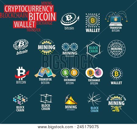 Vector Icon Set For Cryptography. Digital Currency