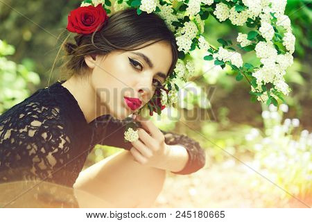 Skincare, Youth, Health. Beauty And Fashion, Pretty Girl With Fashionable Makeup And Red Lips, Has R