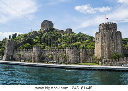 Beautiful Scenic View Of Castle On Bosphorus Coastline In Istanbul