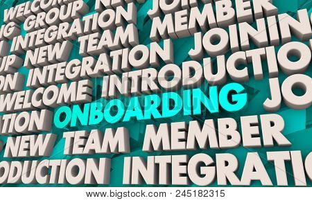 Onboarding Welcome New Member Introduction Join Team Words 3d Render Illustration