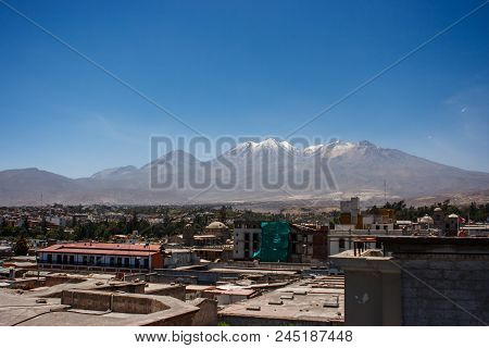View Of The City Of Arequipa, Peru With The El Misti Volcano In The Background