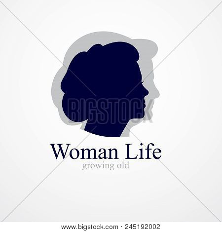 Woman Getting Old Age Years Conceptual Illustration, From Woman To Grandma, Aging Period And Cycle O