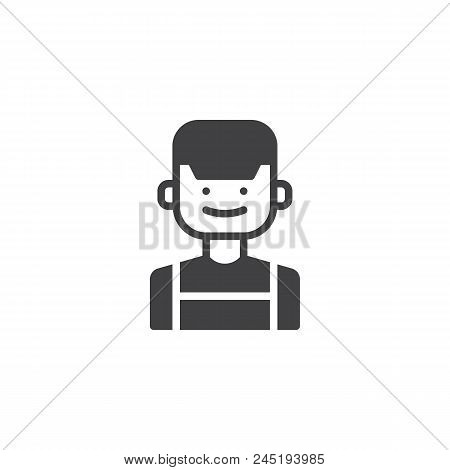 Clerk Vector Icon. Filled Flat Sign For Mobile Concept And Web Design. Male Person In Cap Simple Sol
