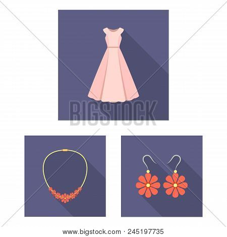 Clothes And Accessories Flat Icons In Set Collection For Design. Shoes And Decoration Vector Symbol
