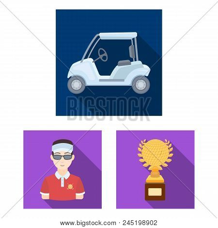 Golf And Attributes Flat Icons In Set Collection For Design.golf Club And Equipment Vector Symbol St