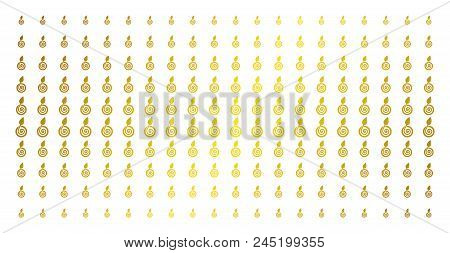 Seed Sprout Icon Golden Halftone Pattern. Vector Seed Sprout Objects Are Organized Into Halftone Gri